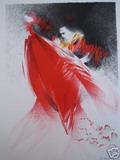 Guitard Jean-Louis, Mantille rouge, Lithographie originale.