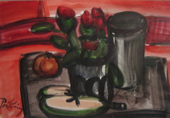 Priking Franz, Nature morte au vase, Aquarelle.